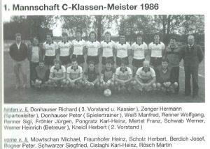 1986: Erste Mannschaft Meister C-Klasse